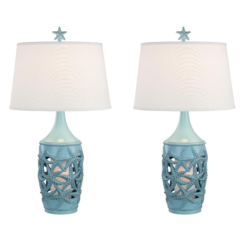31 In Glacier Blue Indoor Table Lamp Set Mai Al411 Gl Nl