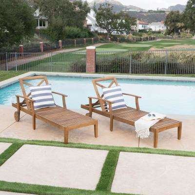 Giancarlo Teak 2-Piece Wood Outdoor Chaise Lounge
