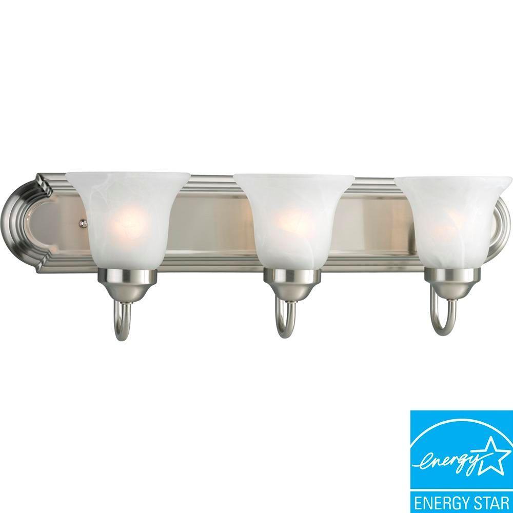 Gu24 vanity lighting lighting the home depot 3 light brushed nickel fluorescent vanity mozeypictures Images