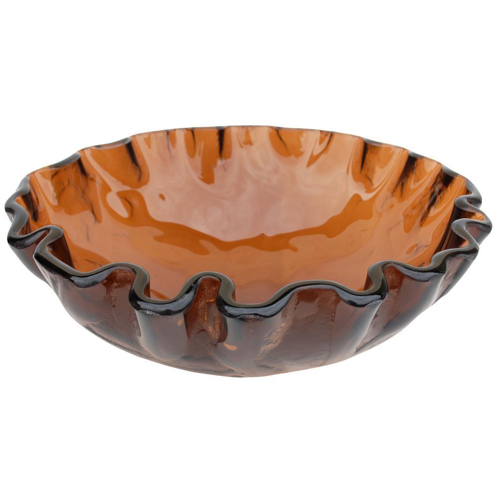 Eden Bath Free-form Wave Vessel Sink in Cola Brown