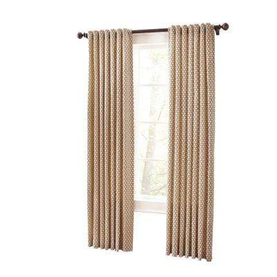 Moroccan Geo Light Filtering Window Panel in Hickory - 50 in. W x 95 in. L