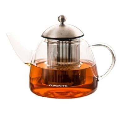 7.6-Cup Glass with Stainless Steel Mesh Filter, Heat Tempered Borosilicate Teapot Warmer (FGA61T)