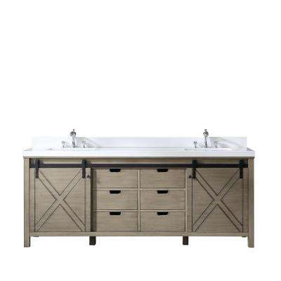 Marsyas 84 in. Double Vanity Ash Grey, White Quartz Top, White Square Sinks and No Mirror
