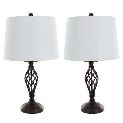 24.5 in. Black Spiral Lamp Set (2-Piece)