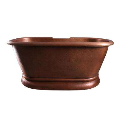 Reedley 60 in. Copper Double Roll Top Flatbottom Non-Whirlpool Bathtub with No Holes