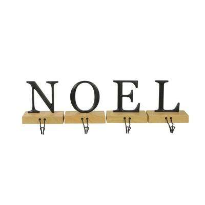 6 in. Metal and Wood Noel Christmas Stocking Holder (Set of 4)
