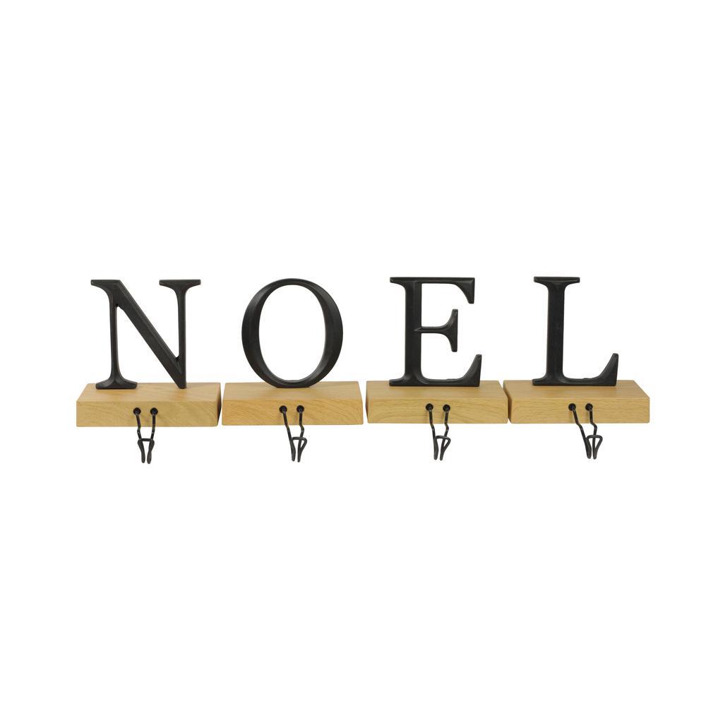 6 in. Metal and Wood Noel Christmas Stocking Holder (Set of 4)