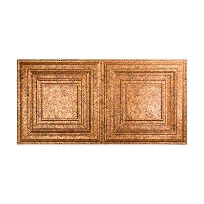 Traditional 3 - 2 ft. x 4 ft. Vinyl Glue-Up Ceiling Tile in Cracked Copper