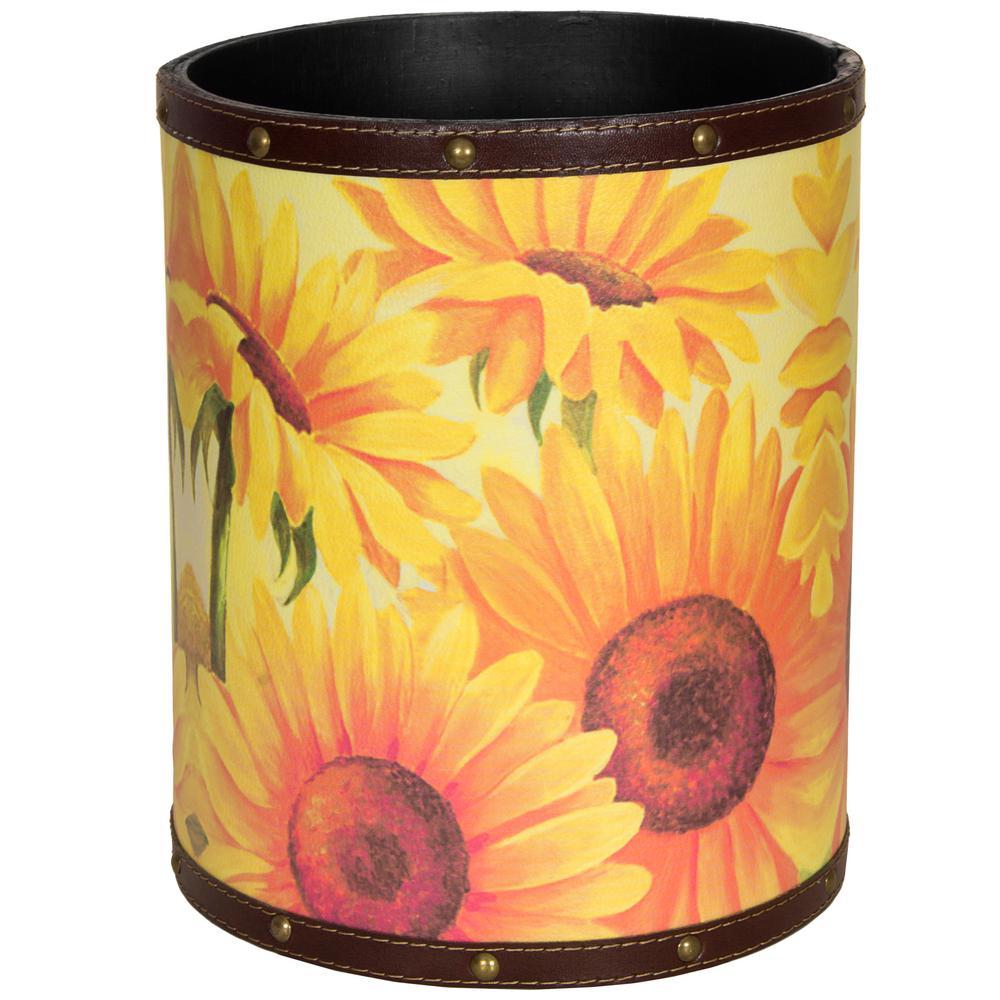 Oriental Furniture 8.25 in. x 10 in. Sunflower Garden Waste Basket