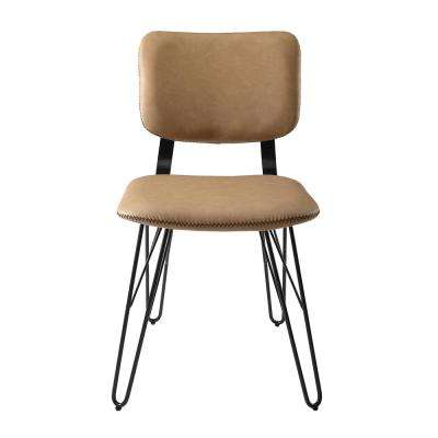 Flax Back Tan Accent Dining Chair with Black Stitching (2-Pack)