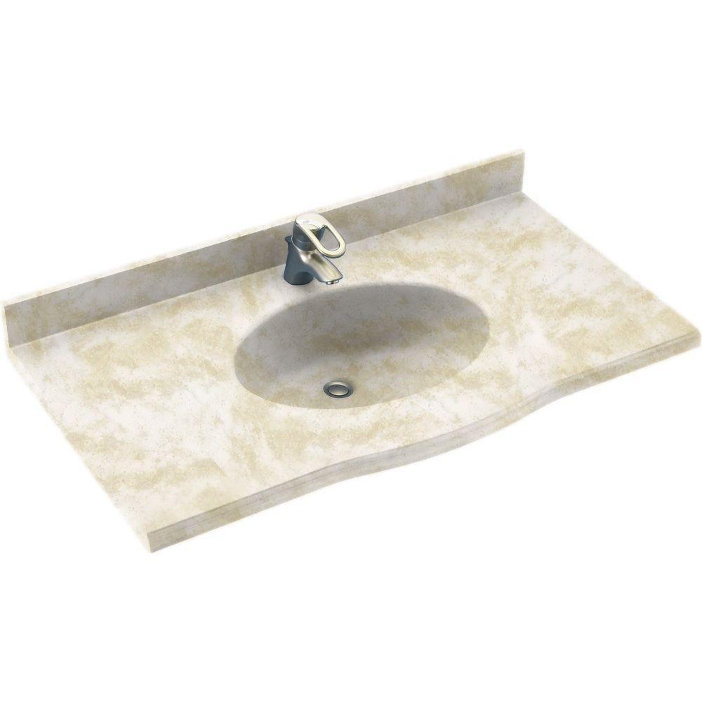 Swanstone Europa 43 In Solid Surface Vanity Top With Basin In Cloud White Ev1b2243 125 The