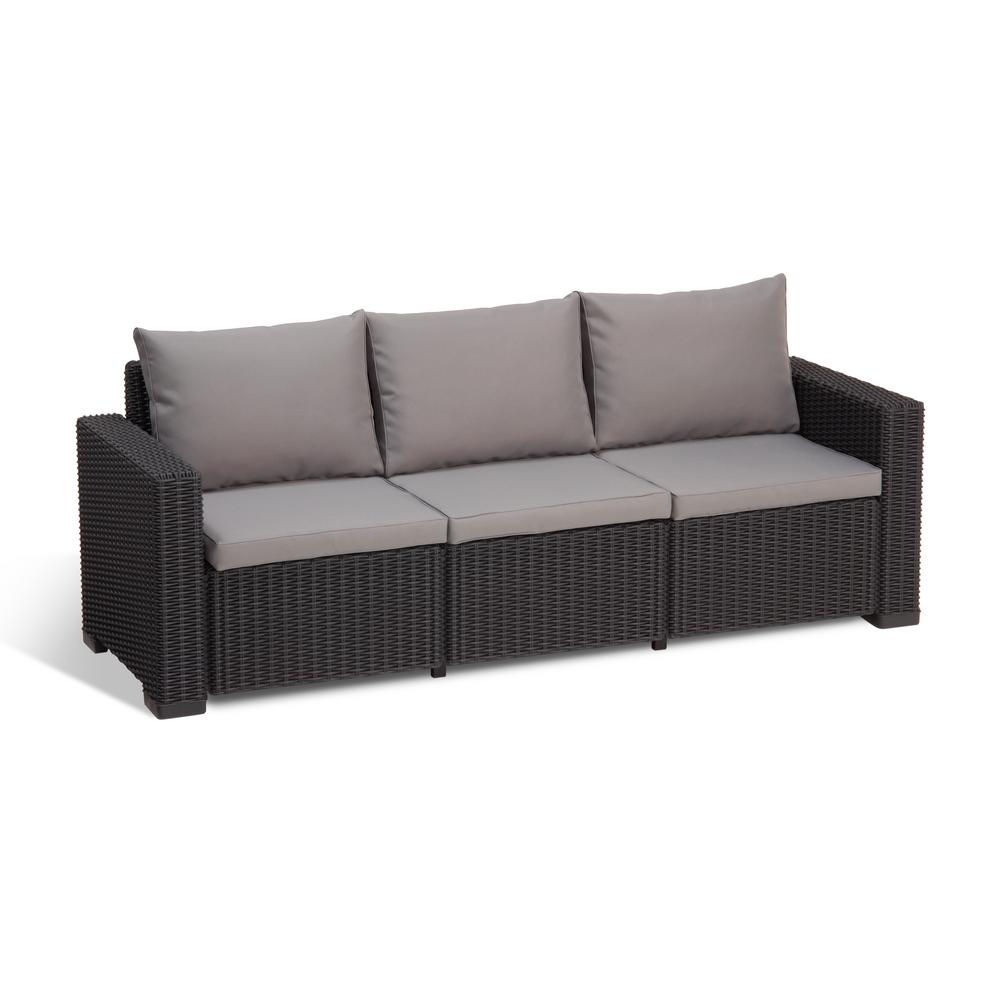 Keter california graphite plastic wicker outdoor 3 seat for Sofa 1 5 sitzer