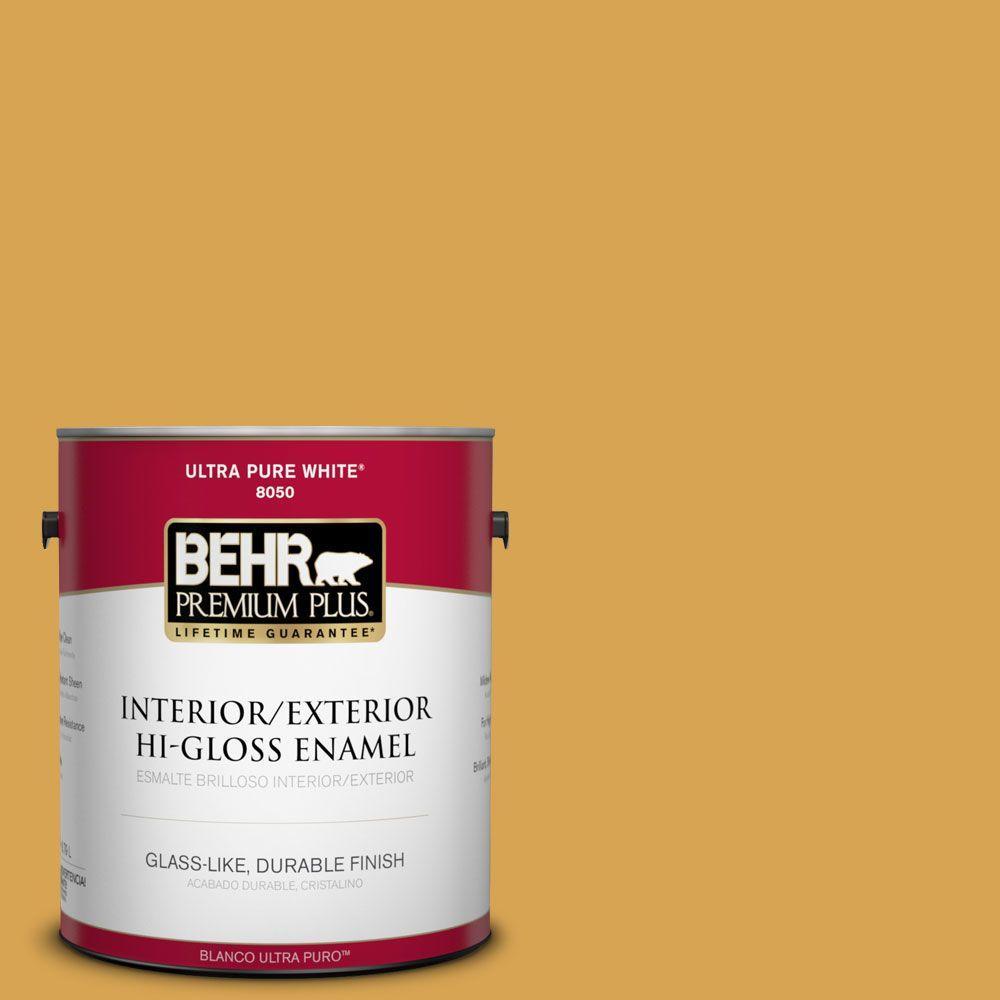BEHR Premium Plus 1-gal. #M290-6 Plantain Chips Hi-Gloss Enamel Interior/Exterior Paint