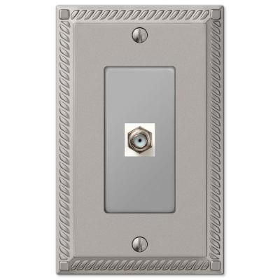 Georgian 1 Gang Coax Metal Wall Plate - Satin Nickel