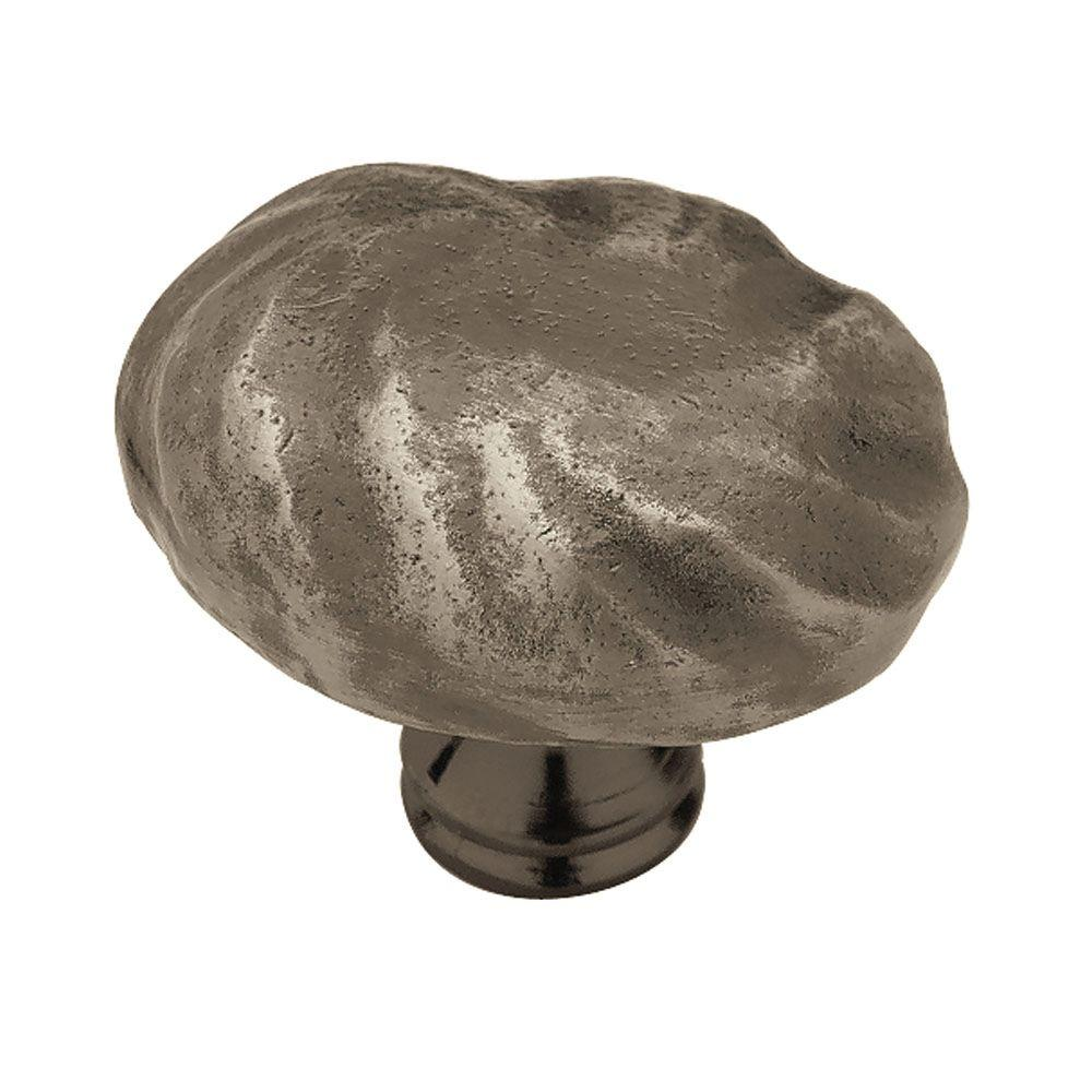 Rustique 1-3/4 in. Antique Pewter Oval Cabinet Knob