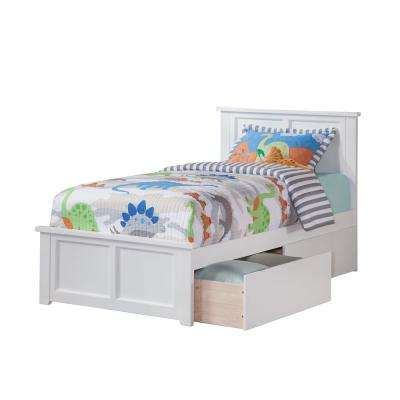 Madison White Twin XL Platform Bed with Matching Foot Board with 2-Urban Bed Drawers
