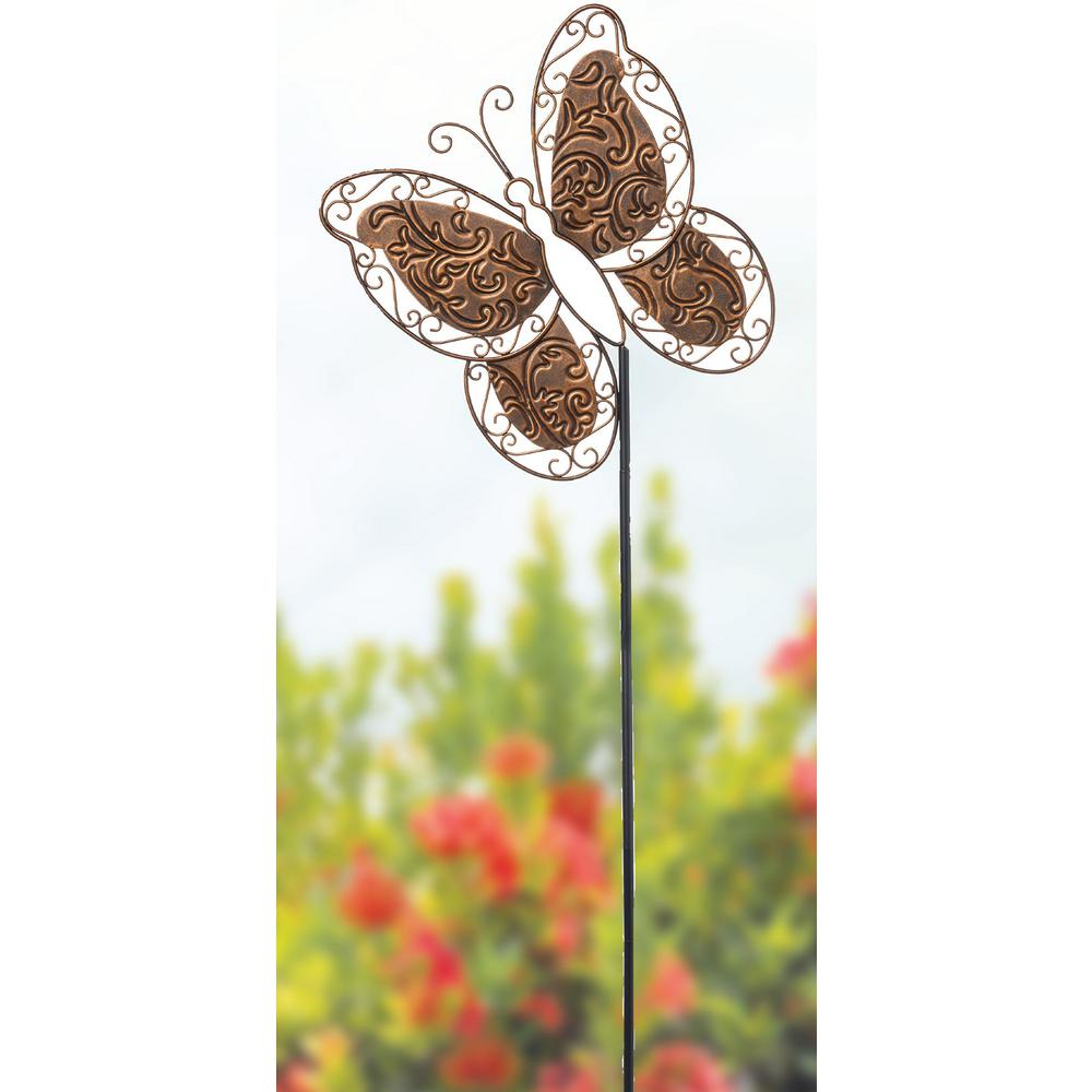 Precious Moments Butterfly 30 in. Garden Stake A friendly, fluttering butterfly adds a cheerful touch to garden beds and flower pots. Placed along a walkway or amongst the vegetable patch or perennial garden, twirling patterns bring the spirit of Precious Moments to any outdoor space. Give this thoughtful Precious Moments garden stake as a thinking of you gift, birthday gift, mothers day gift, housewarming gift or just because she loves to make her surroundings beautiful. Crafted in metal. Approximately 30 in. H.