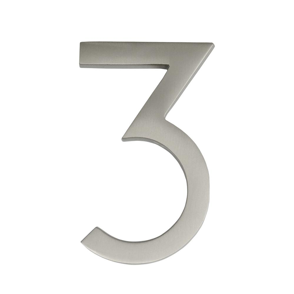 Architectural Mailboxes Frank Lloyd Wright Collection 4 in. Wright Satin Nickel Floating House Number 3