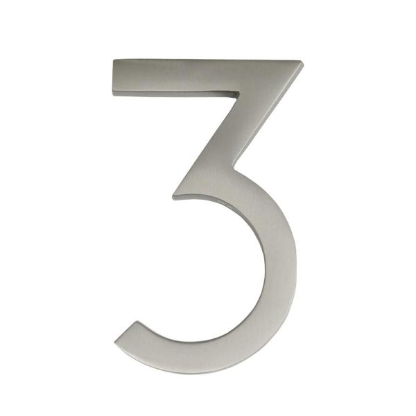 Frank Lloyd Wright Collection 4 in. Wright Satin Nickel Floating House Number 3
