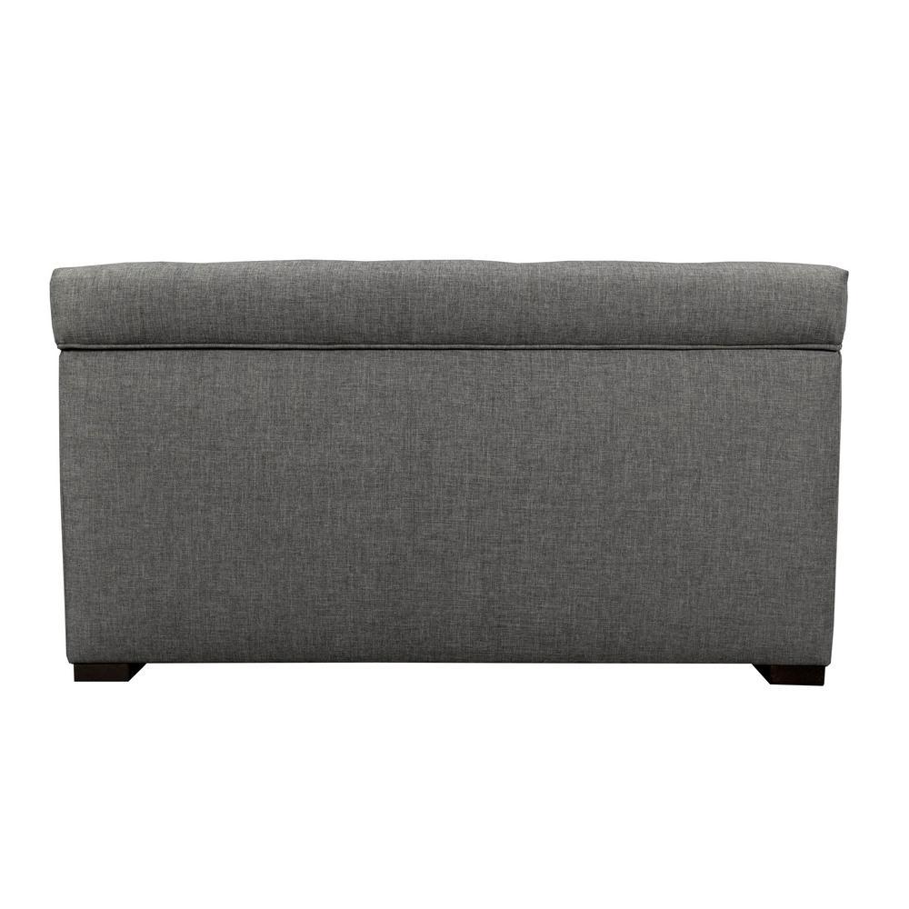 MJL Furniture Designs Angela Sand Gray Button Tufted Upholstered Storage Trunk