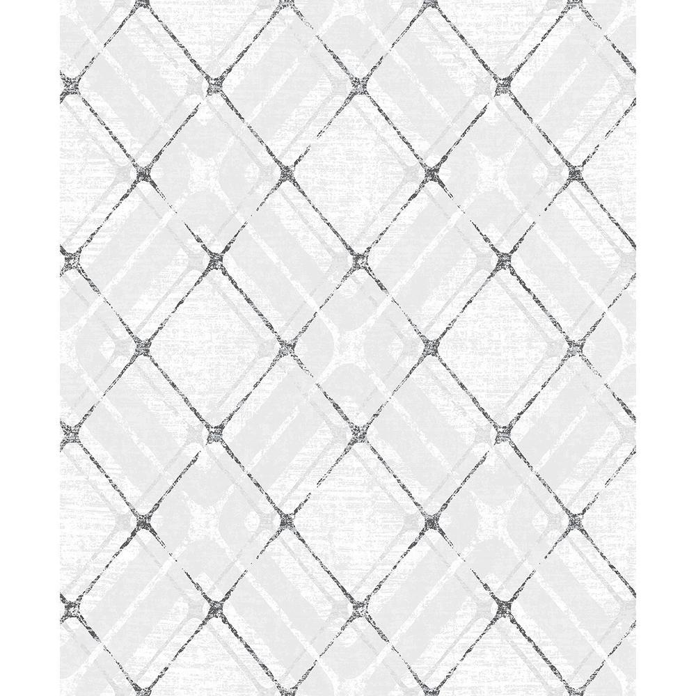 Advantage 8 in. x 10 in. Hadley Grey Argyle Wallpaper Sample