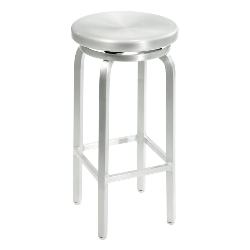Home Decorators Collection Melanie 30 In. Brushed Aluminum Swivel Bar Stool