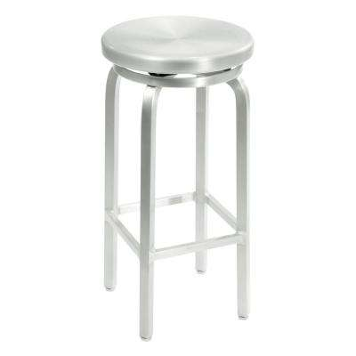 Melanie 30 in. Brushed Aluminum Swivel Bar Stool