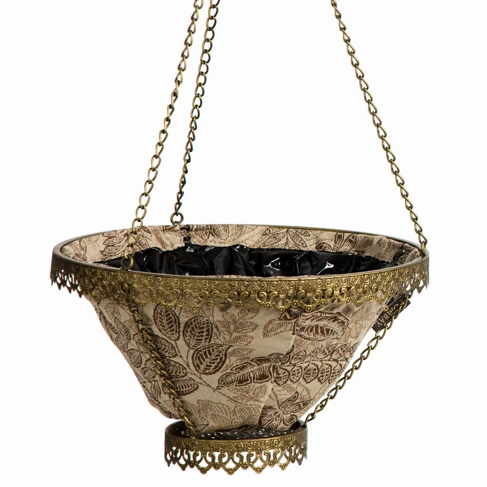 Gold Avignon Hanging Planter With Mocha Liner