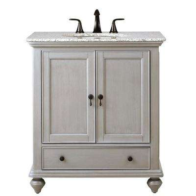 Newport 31 in. W x 21-1/2 in. D Bath Vanity in Pewter with Granite Vanity Top in Grey