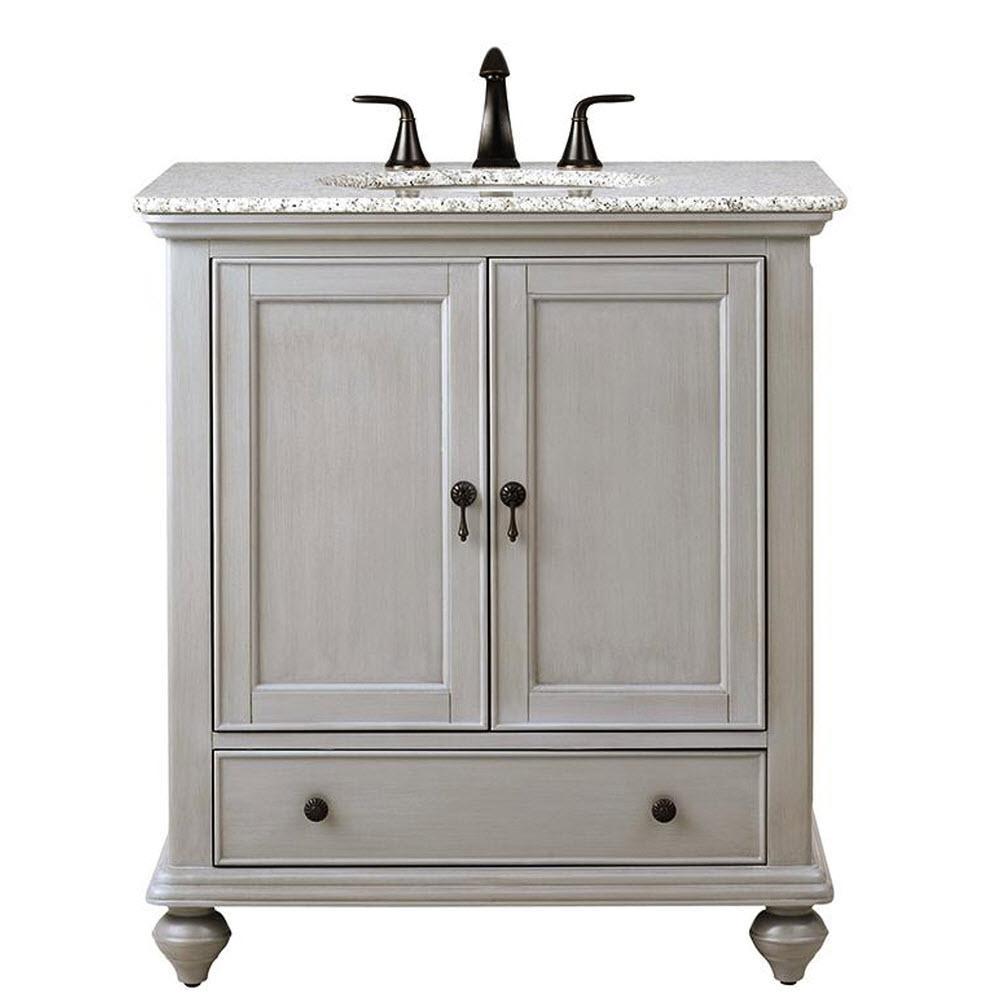 Newport 31 in. W x 21-1/2 in. D Bath Vanity in Pewter with Granite Vanity Top in Grey