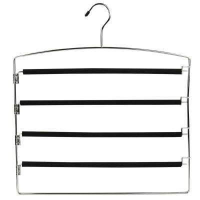 Black PVC Coated 4-Tier Chrome Slack Hanger with Clips (1-Pack)