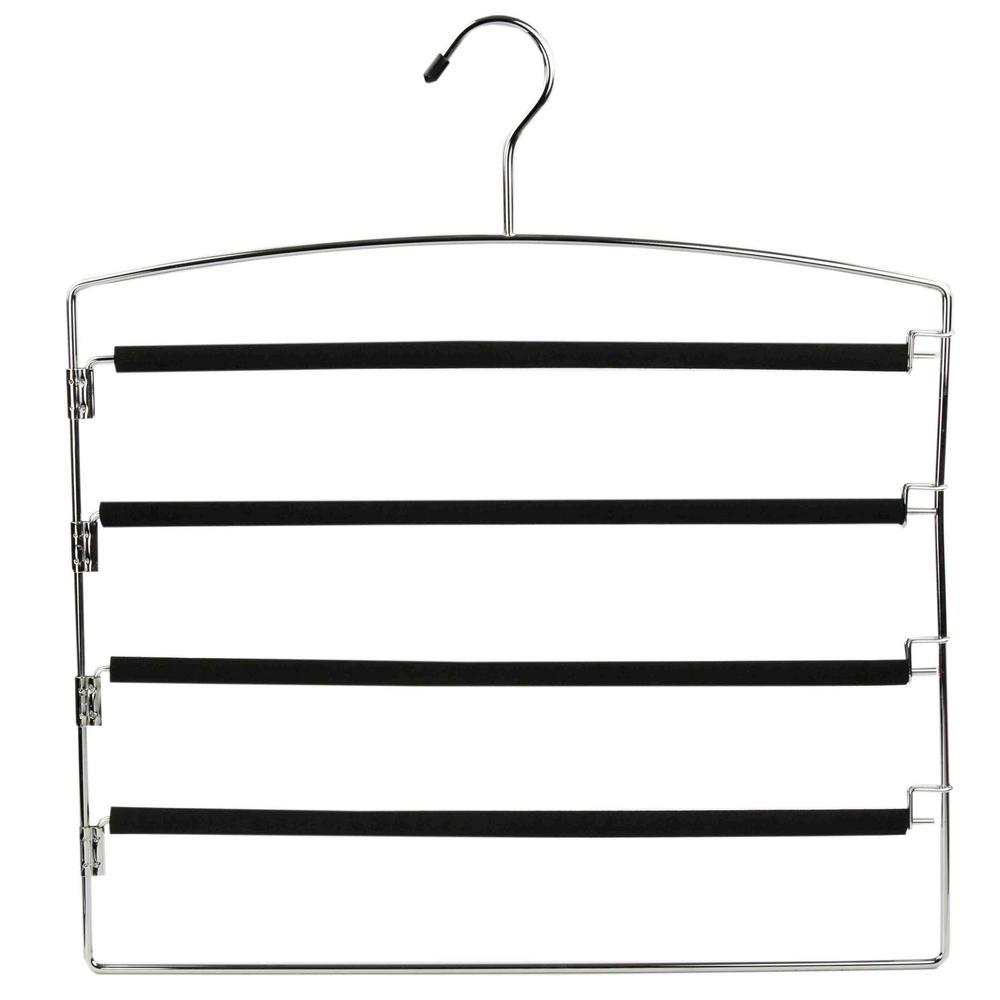 Black PVC Coated 4-Tier Chrome Slack Hanger with Clips (1-Pack)