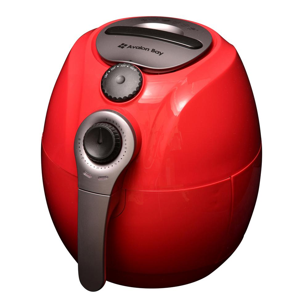 3.7 Qt. Red Air Fryer With the Avalon Bay Air Fryer you can still eat your favorite foods while also leading a healthier lifestyle. Avalon Bay is simply giving you the opportunity to Fry, Bake, Grill or Roast your food for you and your family. Its time you experienced this revolutionary way to cook your food. Color: Red.
