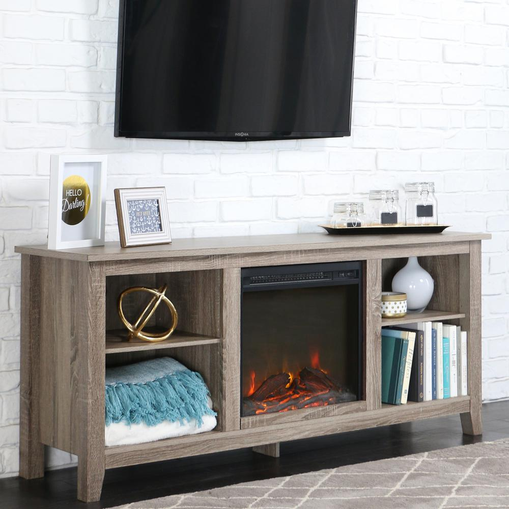 Walker Edison Furniture Company Essentials Driftwood Fire Place Entertainment Center