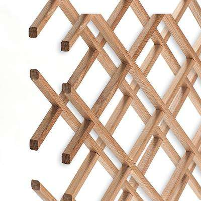 14-Bottle Trimmable Wine Rack Lattice Panel Inserts in Unfinished Solid North American Red Oak