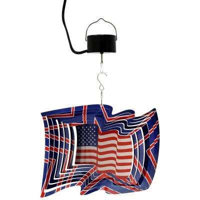 12 in. 3D American Flag Wind Spinner with Electric-Operated Motor