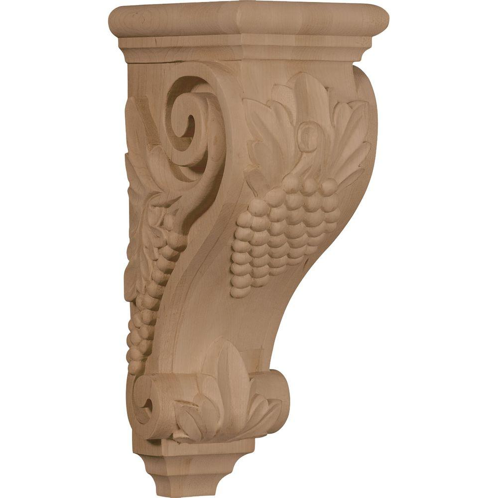Ekena Millwork 7 in. x 5 in. x 14 in. Unfinished Wood Walnut Large Grape Corbel