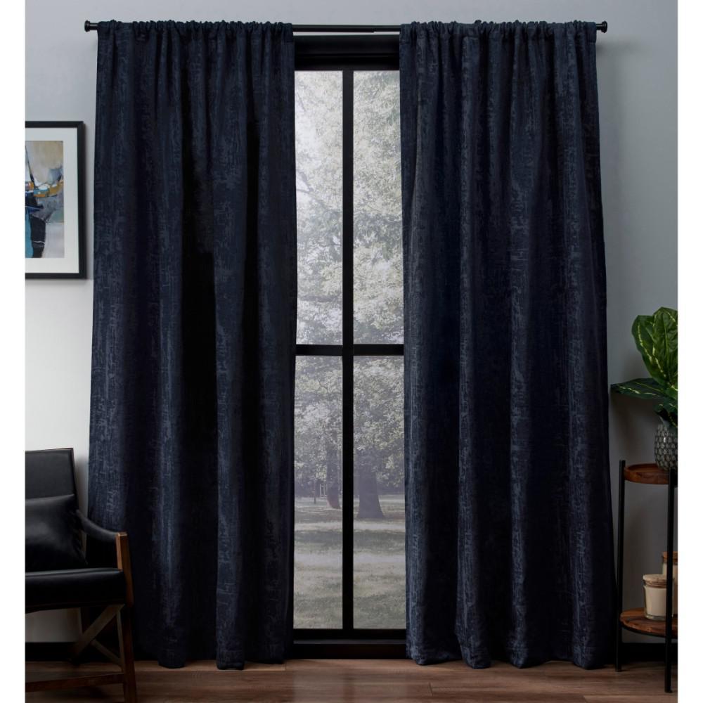 Crosshatch Indigo Chenille Rod Pocket Top Window Curtain