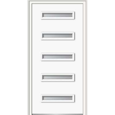 32 in. x 80 in. Davina Left-Hand Inswing 5-Lite Frosted Modern Painted Steel Prehung Front Door on 4-9/16 in. Frame