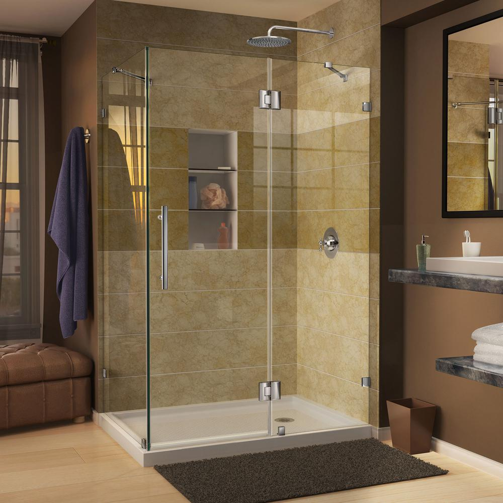 DreamLine Quatra Lux 46-5/16 in. x 32-1/4 in. x 72 in. Frameless Corner Hinged Shower Enclosure in Chrome