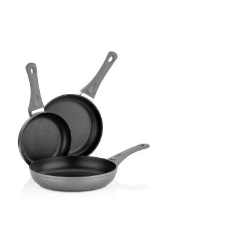 3-Piece Titanium Coated Aluminum Non-Stick Frying Pan Set in Gray