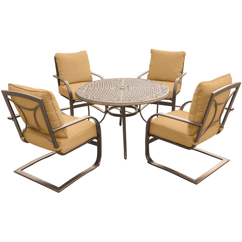 5-Piece Outdoor Dining Set with Round Cast-Top Table and Aluminum Spring