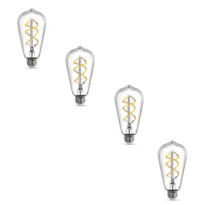 40W Equivalent ST19 Dimmable LED Clear Glass Vintage Edison Light Bulb with Spiral Filament Warm White (4-Pack)