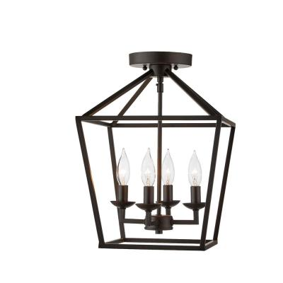 Weyburn 16.5 in. 4-Light Bronze Semi-Flush Mount
