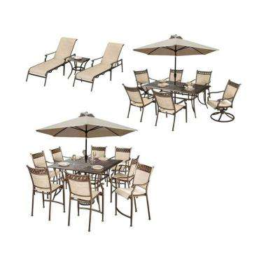 Bali 23-Piece Cast Aluminum Outdoor Dining Set and Umbrella