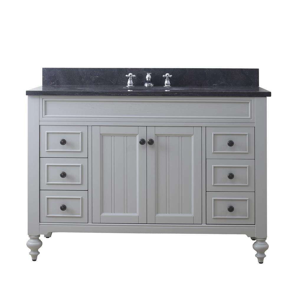Water Creation Potenza 48 in. W x 33 in. H Vanity in Earl Grey with Granite Vanity Top in Blue Limestone with White Basin and Faucet