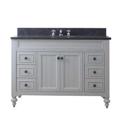 Potenza 48 in. W x 33 in. H Vanity in Earl Grey with Granite Vanity Top in Blue Limestone with White Basin and Faucet