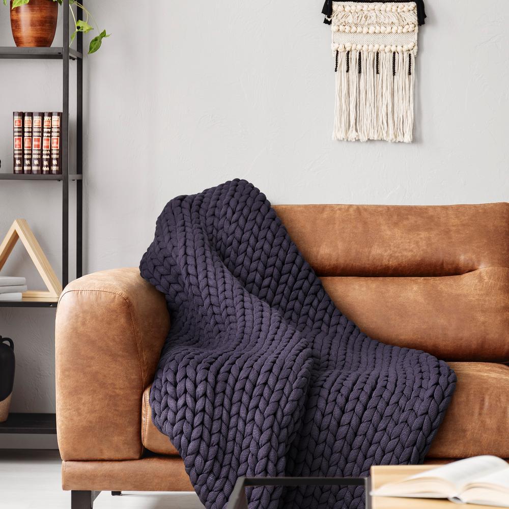 Indigo Acrylic Chunky Knitted Throw