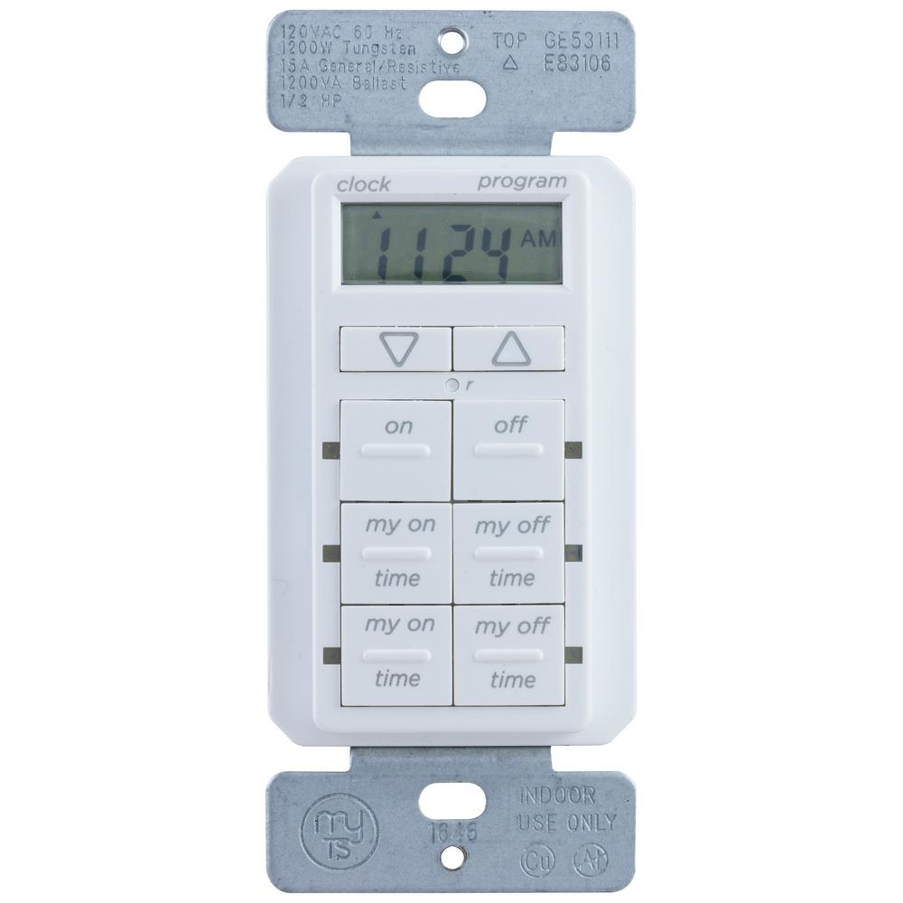 Home Depot Light Timers: MyTouchSmart Simple Set In-Wall Digital Timer-26893-P1