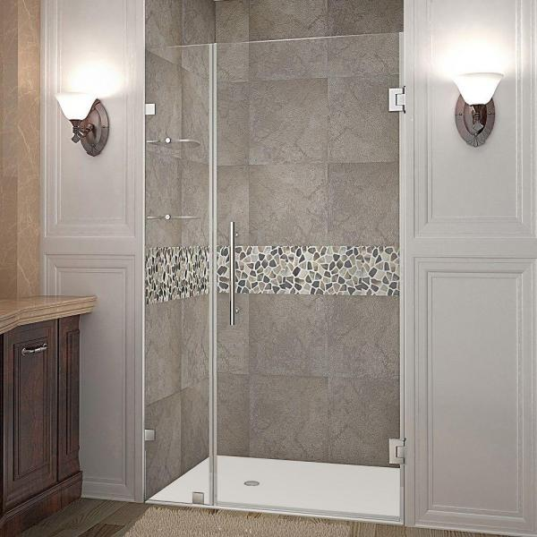 Nautis GS 37 in. x 72 in. Frameless Hinged Shower Door in Stainless Steel with Glass Shelves